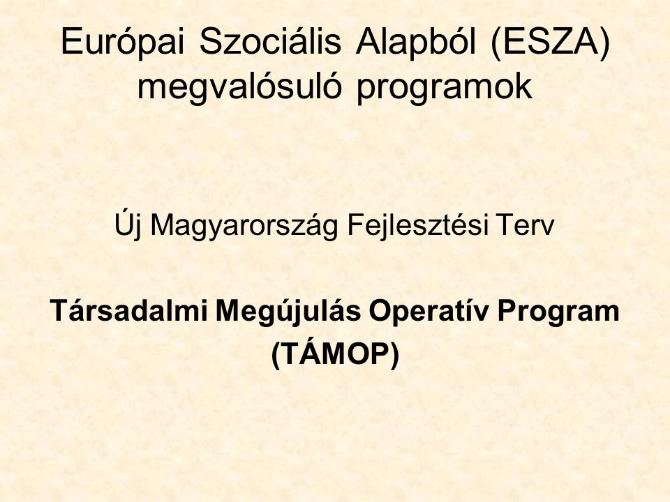 Európai Szociális Alapból (ESZA) megvalósuló programok Új Magyarország Fejlesztési Terv Társadalmi Megújulás Operatív Program (TÁMOP)