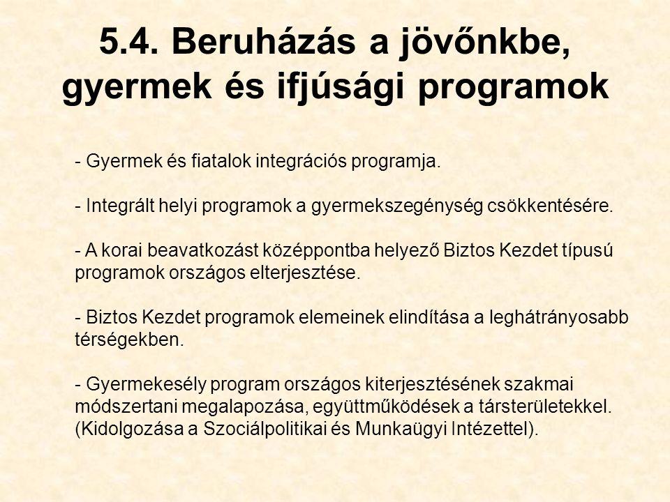 5.4. Beruházás a jövőnkbe, gyermek és ifjúsági programok - Gyermek és fiatalok integrációs programja. - Integrált helyi programok a gyermekszegénység