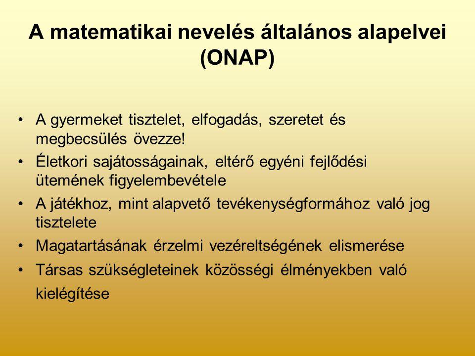 A matematikai nevelés általános alapelvei (ONAP) A gyermeket tisztelet, elfogadás, szeretet és megbecsülés övezze.