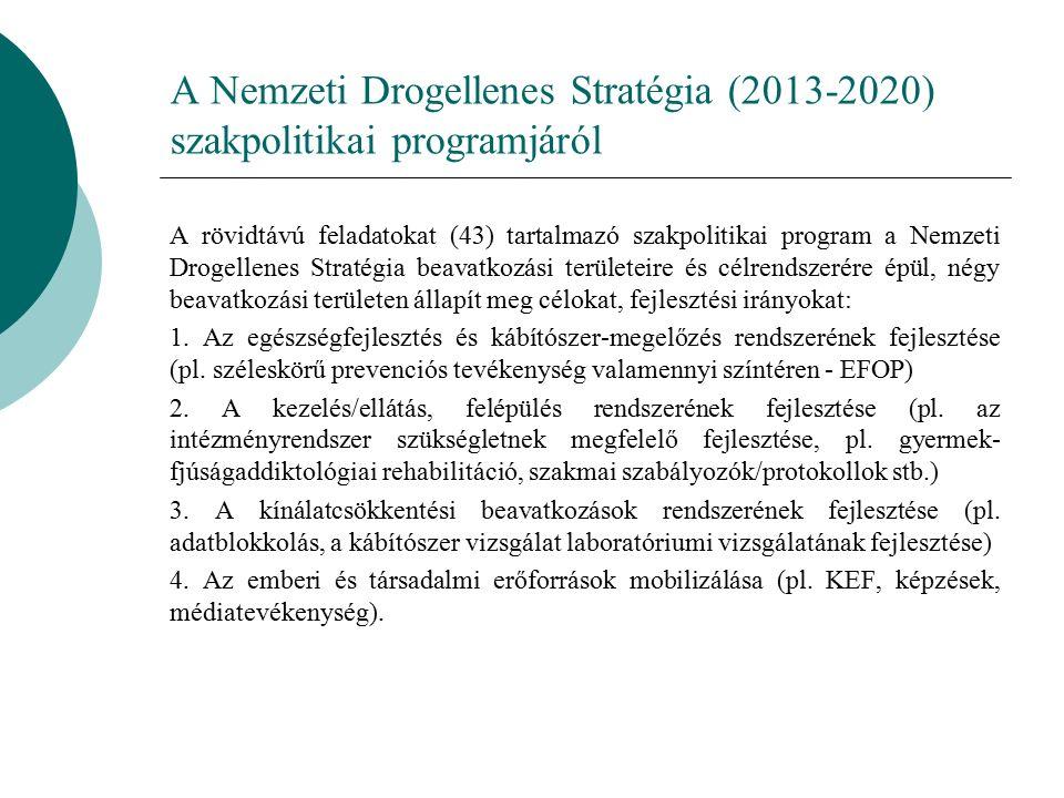 A Nemzeti Drogellenes Stratégia (2013-2020) szakpolitikai programjáról A rövidtávú feladatokat (43) tartalmazó szakpolitikai program a Nemzeti Drogellenes Stratégia beavatkozási területeire és célrendszerére épül, négy beavatkozási területen állapít meg célokat, fejlesztési irányokat: 1.