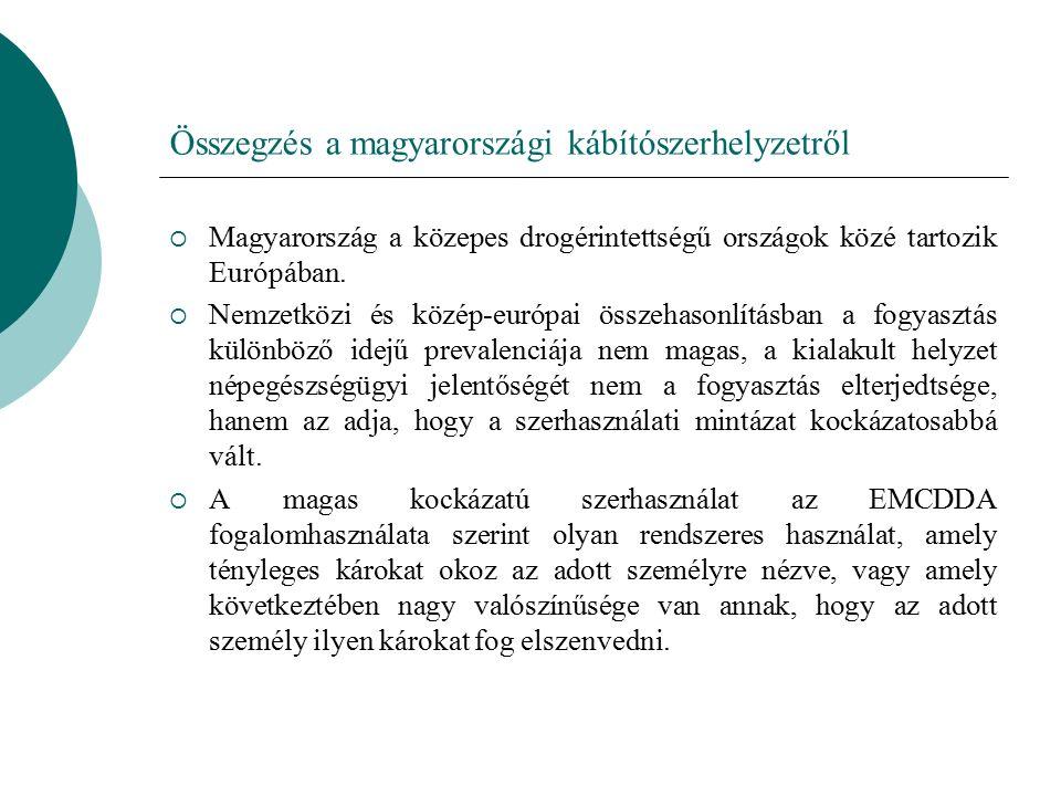 Összegzés a magyarországi kábítószerhelyzetről  Magyarország a közepes drogérintettségű országok közé tartozik Európában.  Nemzetközi és közép-európ
