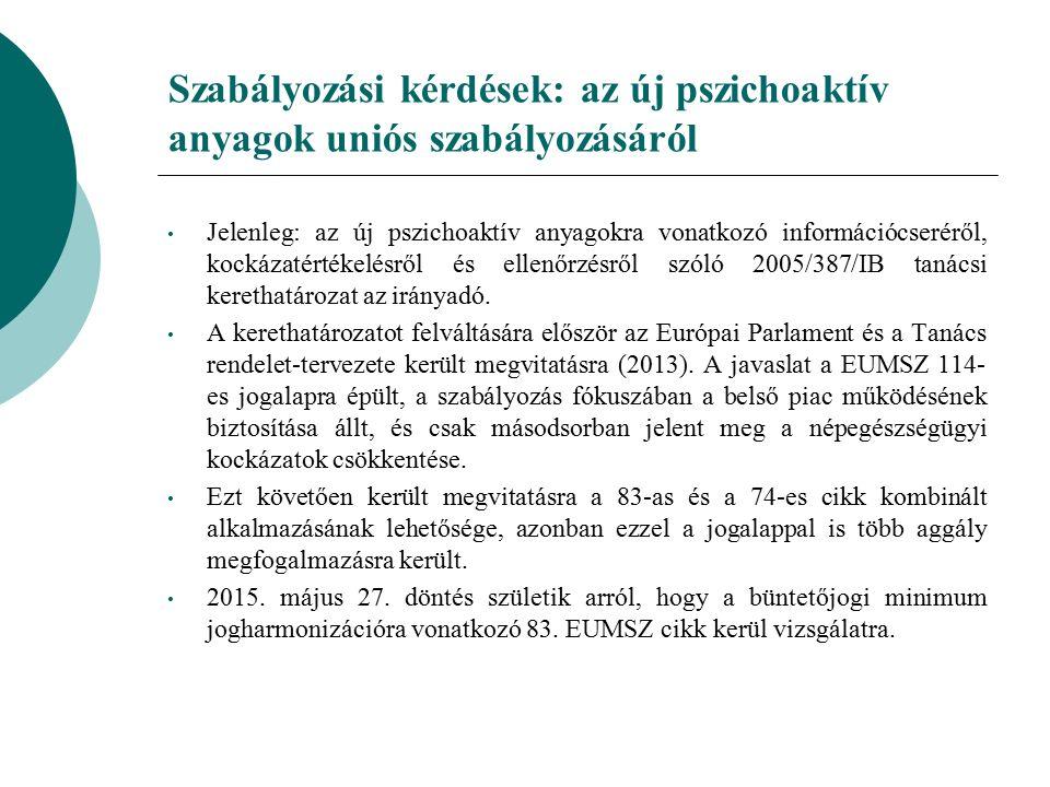 Szabályozási kérdések: az új pszichoaktív anyagok uniós szabályozásáról Jelenleg: az új pszichoaktív anyagokra vonatkozó információcseréről, kockázatértékelésről és ellenőrzésről szóló 2005/387/IB tanácsi kerethatározat az irányadó.