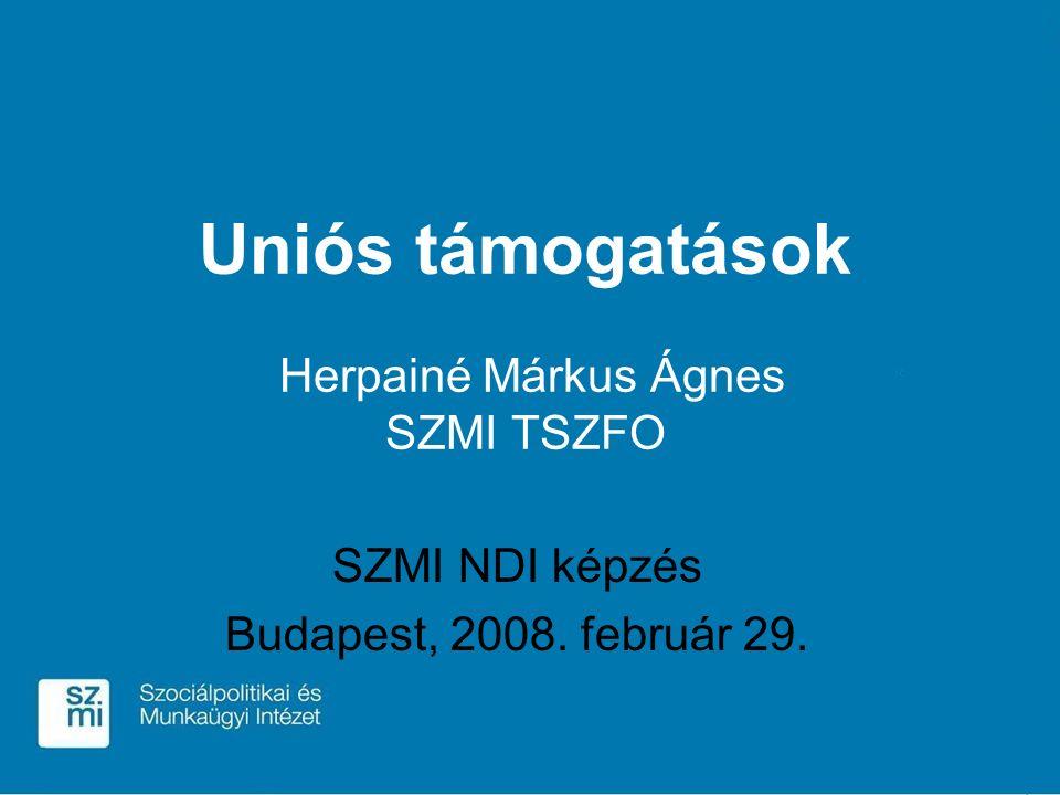 Uniós támogatások Herpainé Márkus Ágnes SZMI TSZFO SZMI NDI képzés Budapest, 2008. február 29.