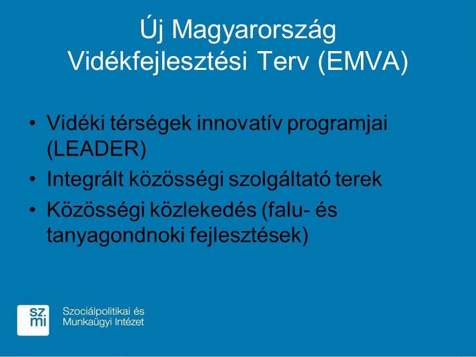 Új Magyarország Vidékfejlesztési Terv (EMVA) Vidéki térségek innovatív programjai (LEADER) Integrált közösségi szolgáltató terek Közösségi közlekedés (falu- és tanyagondnoki fejlesztések)