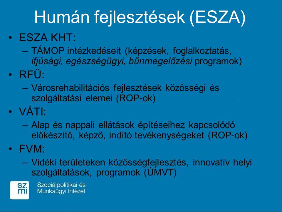 Humán fejlesztések (ESZA) ESZA KHT: –TÁMOP intézkedéseit (képzések, foglalkoztatás, ifjúsági, egészségügyi, bűnmegelőzési programok) RFÜ: –Városrehabilitációs fejlesztések közösségi és szolgáltatási elemei (ROP-ok) VÁTI: –Alap és nappali ellátások építéseihez kapcsolódó előkészítő, képző, indító tevékenységeket (ROP-ok) FVM: –Vidéki területeken közösségfejlesztés, innovatív helyi szolgáltatások, programok (ÚMVT)