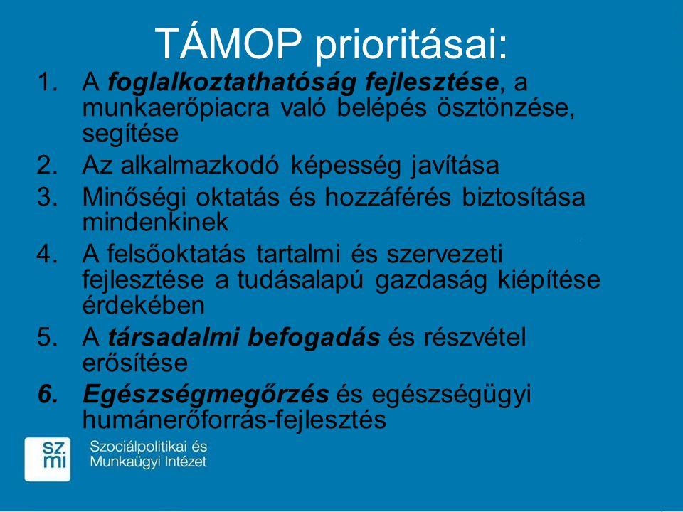 TÁMOP prioritásai: 1.A foglalkoztathatóság fejlesztése, a munkaerőpiacra való belépés ösztönzése, segítése 2.Az alkalmazkodó képesség javítása 3.Minős