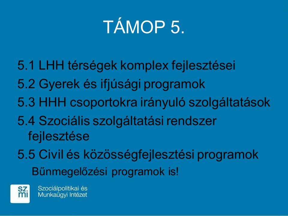 TÁMOP 5. 5.1 LHH térségek komplex fejlesztései 5.2 Gyerek és ifjúsági programok 5.3 HHH csoportokra irányuló szolgáltatások 5.4 Szociális szolgáltatás