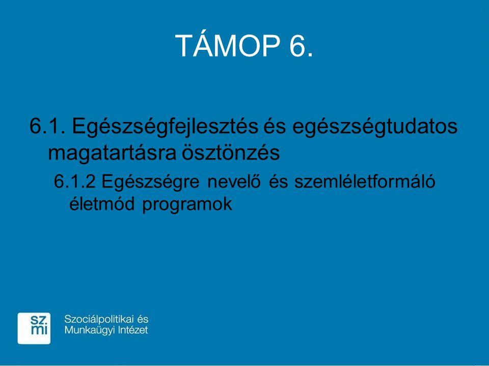 TÁMOP 6. 6.1. Egészségfejlesztés és egészségtudatos magatartásra ösztönzés 6.1.2 Egészségre nevelő és szemléletformáló életmód programok