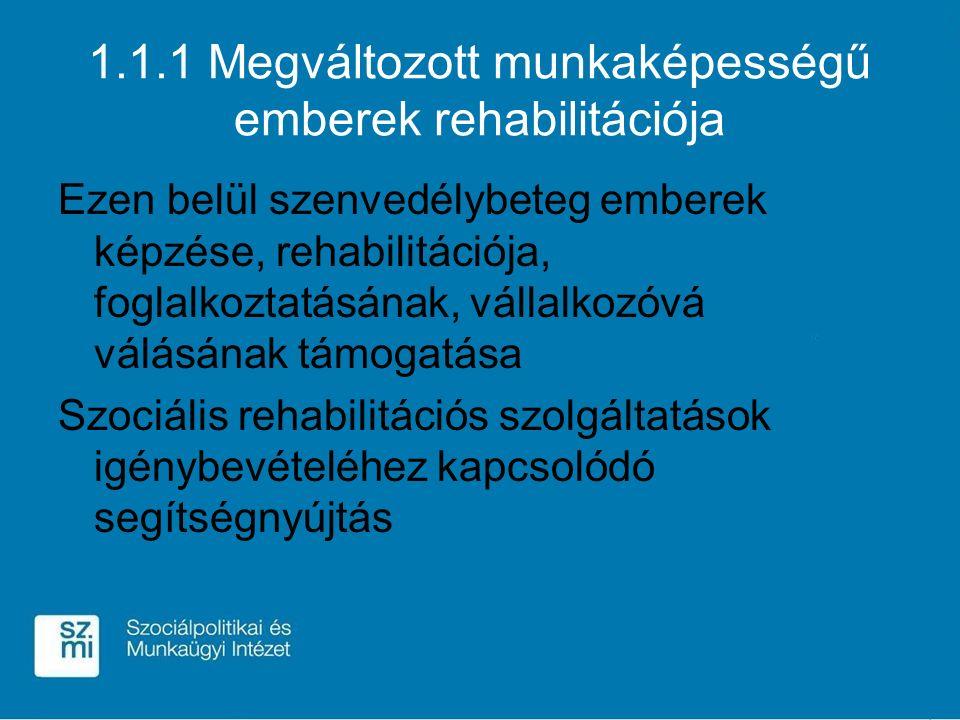 1.1.1 Megváltozott munkaképességű emberek rehabilitációja Ezen belül szenvedélybeteg emberek képzése, rehabilitációja, foglalkoztatásának, vállalkozóv