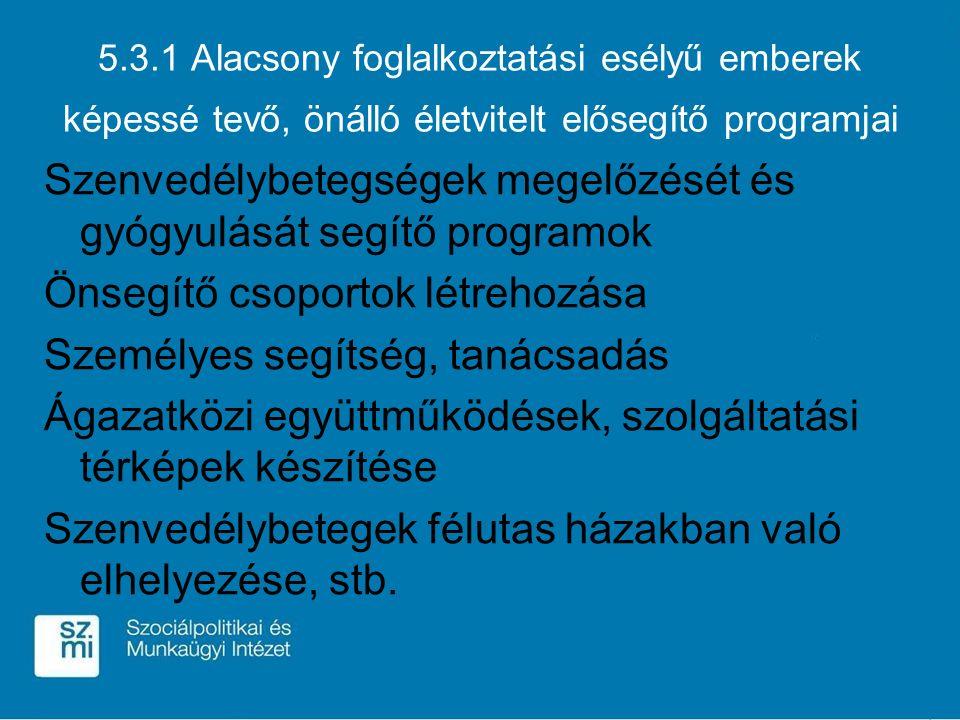 5.3.1 Alacsony foglalkoztatási esélyű emberek képessé tevő, önálló életvitelt elősegítő programjai Szenvedélybetegségek megelőzését és gyógyulását seg
