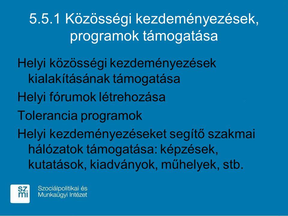 5.5.1 Közösségi kezdeményezések, programok támogatása Helyi közösségi kezdeményezések kialakításának támogatása Helyi fórumok létrehozása Tolerancia programok Helyi kezdeményezéseket segítő szakmai hálózatok támogatása: képzések, kutatások, kiadványok, műhelyek, stb.