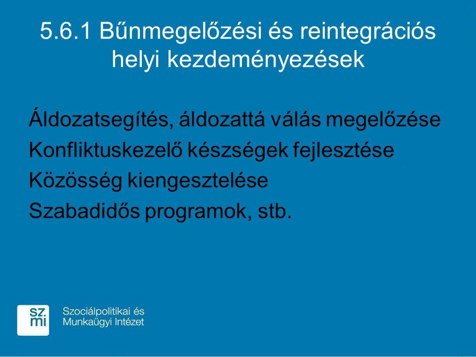 5.6.1 Bűnmegelőzési és reintegrációs helyi kezdeményezések Áldozatsegítés, áldozattá válás megelőzése Konfliktuskezelő készségek fejlesztése Közösség kiengesztelése Szabadidős programok, stb.