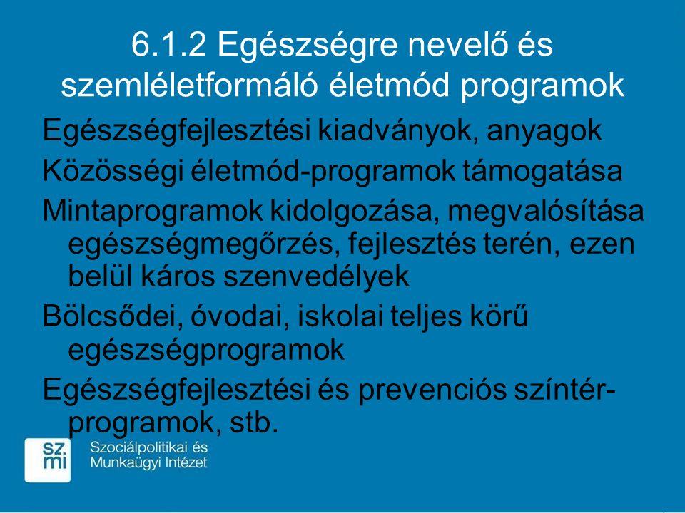 6.1.2 Egészségre nevelő és szemléletformáló életmód programok Egészségfejlesztési kiadványok, anyagok Közösségi életmód-programok támogatása Mintaprog