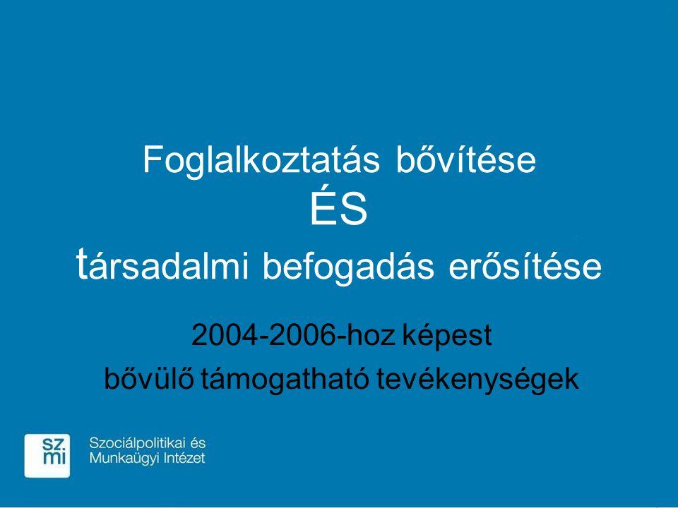 Foglalkoztatás bővítése ÉS t ársadalmi befogadás erősítése 2004-2006-hoz képest bővülő támogatható tevékenységek
