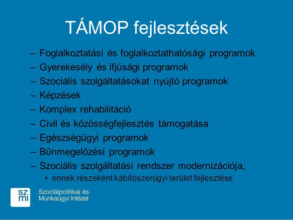 TÁMOP fejlesztések –Foglalkoztatási és foglalkoztathatósági programok –Gyerekesély és ifjúsági programok –Szociális szolgáltatásokat nyújtó programok –Képzések –Komplex rehabilitáció –Civil és közösségfejlesztés támogatása –Egészségügyi programok –Bűnmegelőzési programok –Szociális szolgáltatási rendszer modernizációja, ennek részeként kábítószerügyi terület fejlesztése