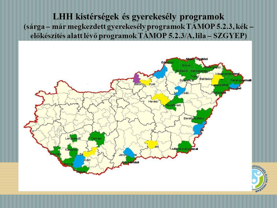 LHH kistérségek és gyerekesély programok (sárga – már megkezdett gyerekesély programok TÁMOP 5.2.3, kék – előkészítés alatt lévő programok TÁMOP 5.2.3