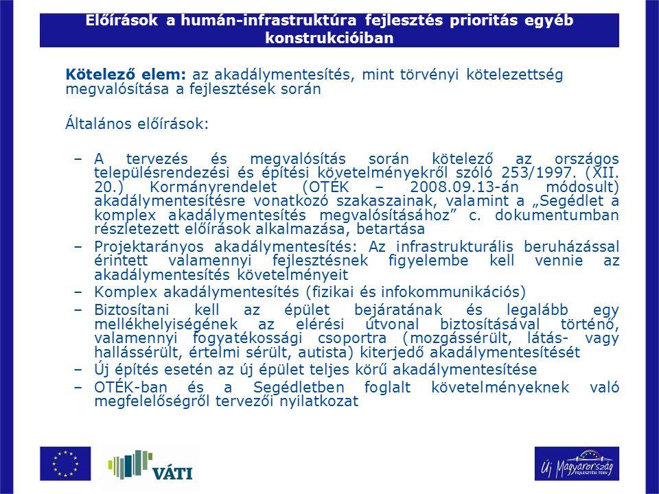 Előírások a humán-infrastruktúra fejlesztés prioritás egyéb konstrukcióiban Kötelező elem: az akadálymentesítés, mint törvényi kötelezettség megvalósí