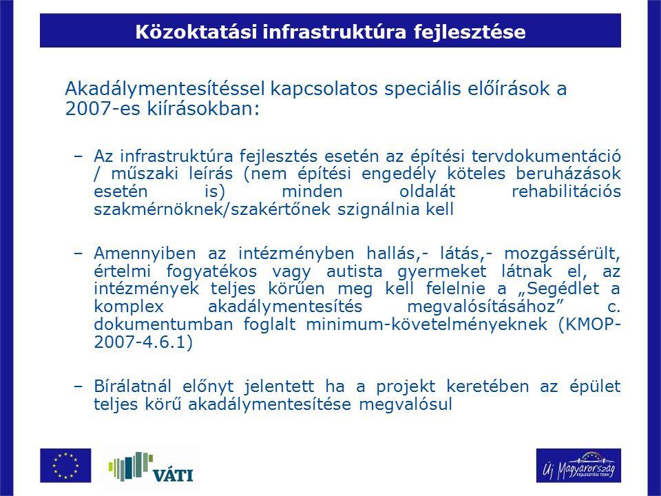 Közoktatási infrastruktúra fejlesztése Akadálymentesítéssel kapcsolatos speciális előírások a 2007-es kiírásokban: –Az infrastruktúra fejlesztés eseté