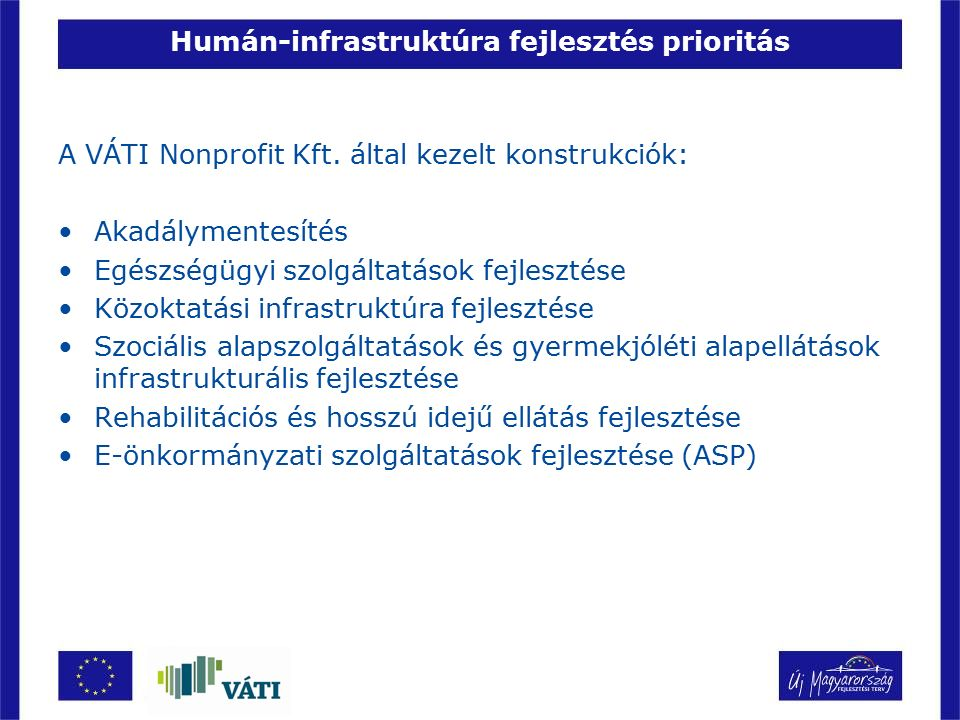 Humán-infrastruktúra fejlesztés prioritás A VÁTI Nonprofit Kft. által kezelt konstrukciók: Akadálymentesítés Egészségügyi szolgáltatások fejlesztése K