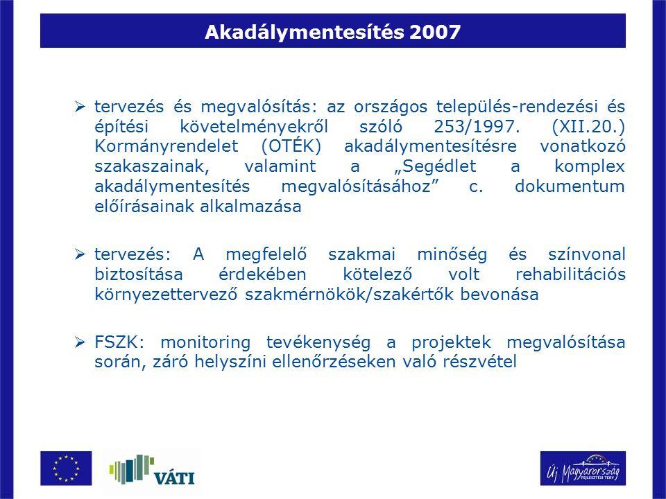 Akadálymentesítés 2007  tervezés és megvalósítás: az országos település-rendezési és építési követelményekről szóló 253/1997. (XII.20.) Kormányrendel