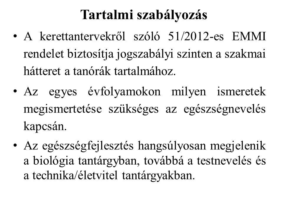 Tartalmi szabályozás A kerettantervekről szóló 51/2012-es EMMI rendelet biztosítja jogszabályi szinten a szakmai hátteret a tanórák tartalmához.