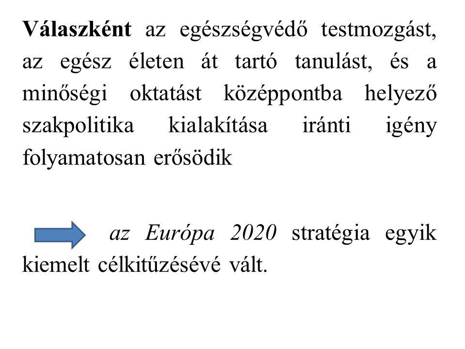 Válaszként az egészségvédő testmozgást, az egész életen át tartó tanulást, és a minőségi oktatást középpontba helyező szakpolitika kialakítása iránti igény folyamatosan erősödik az Európa 2020 stratégia egyik kiemelt célkitűzésévé vált.