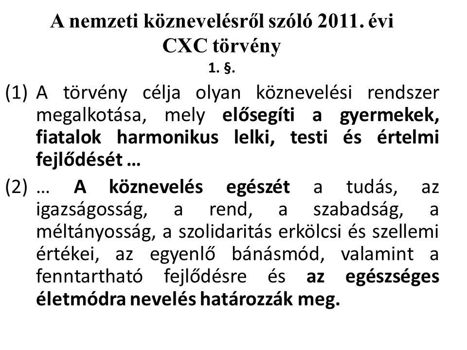 A nemzeti köznevelésről szóló 2011. évi CXC törvény 1.
