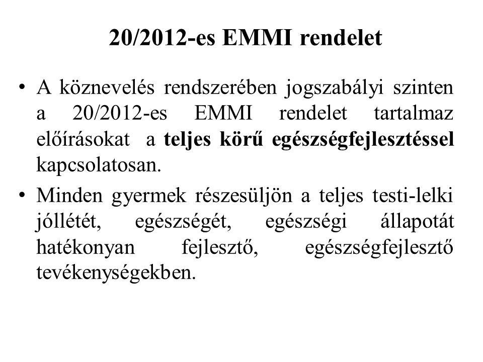 20/2012-es EMMI rendelet A köznevelés rendszerében jogszabályi szinten a 20/2012-es EMMI rendelet tartalmaz előírásokat a teljes körű egészségfejlesztéssel kapcsolatosan.
