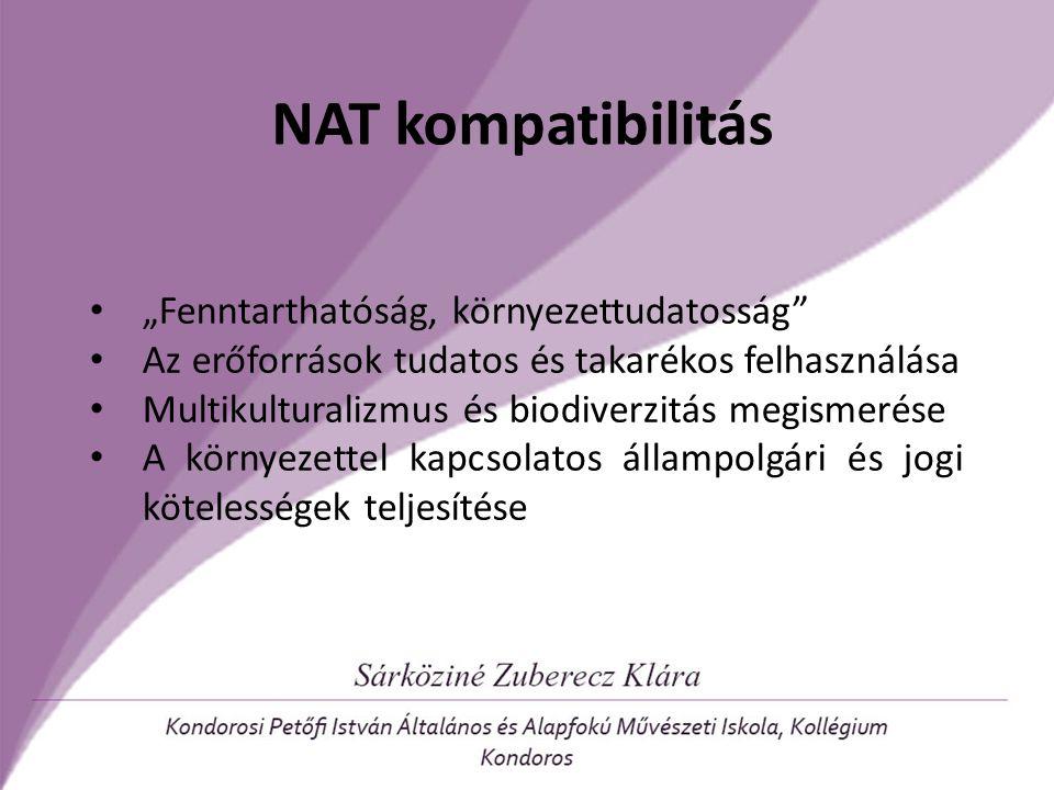 """NAT kompatibilitás """"Fenntarthatóság, környezettudatosság"""" Az erőforrások tudatos és takarékos felhasználása Multikulturalizmus és biodiverzitás megism"""