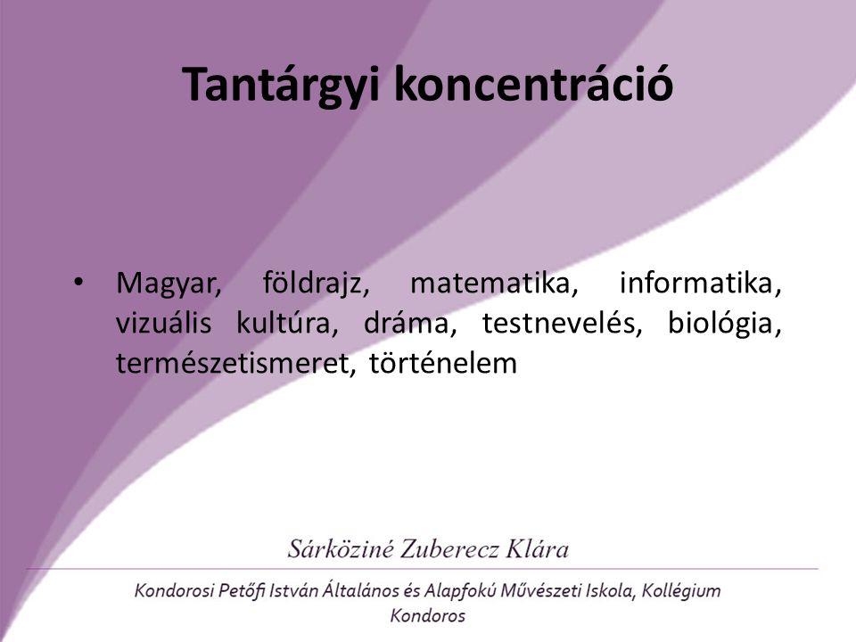 Tantárgyi koncentráció Magyar, földrajz, matematika, informatika, vizuális kultúra, dráma, testnevelés, biológia, természetismeret, történelem