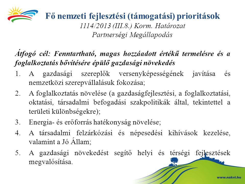 Fő nemzeti fejlesztési (támogatási) prioritá sok 1114/2013 (III.8.) Korm.
