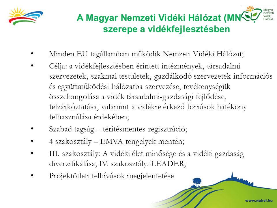 A Magyar Nemzeti Vidéki Hálózat (MNVH) szerepe a vidékfejlesztésben Minden EU tagállamban működik Nemzeti Vidéki Hálózat; Célja: a vidékfejlesztésben érintett intézmények, társadalmi szervezetek, szakmai testületek, gazdálkodó szervezetek információs és együttműködési hálózatba szervezése, tevékenységük összehangolása a vidék társadalmi-gazdasági fejlődése, felzárkóztatása, valamint a vidékre érkező források hatékony felhasználása érdekében; Szabad tagság – térítésmentes regisztráció; 4 szakosztály – EMVA tengelyek mentén; III.
