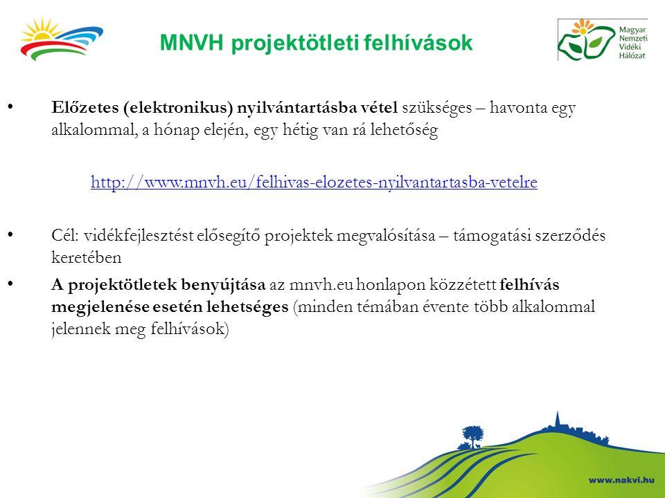 MNVH projektötleti felhívások Előzetes (elektronikus) nyilvántartásba vétel szükséges – havonta egy alkalommal, a hónap elején, egy hétig van rá lehetőség http://www.mnvh.eu/felhivas-elozetes-nyilvantartasba-vetelre Cél: vidékfejlesztést elősegítő projektek megvalósítása – támogatási szerződés keretében A projektötletek benyújtása az mnvh.eu honlapon közzétett felhívás megjelenése esetén lehetséges (minden témában évente több alkalommal jelennek meg felhívások)