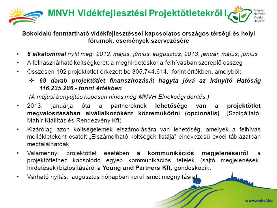MNVH Vidékfejlesztési Projektötletekről I.