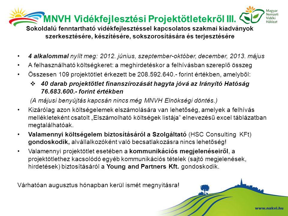 MNVH Vidékfejlesztési Projektötletekről III.