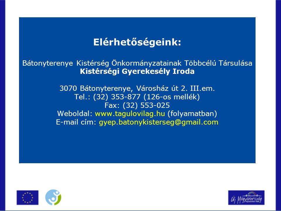 Elérhetőségeink: Bátonyterenye Kistérség Önkormányzatainak Többcélú Társulása Kistérségi Gyerekesély Iroda 3070 Bátonyterenye, Városház út 2.