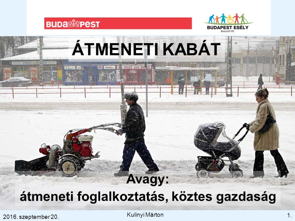 ÁTMENETI KABÁT Avagy: átmeneti foglalkoztatás, köztes gazdaság 1. 2016. szeptember 20. Kulinyi Márton