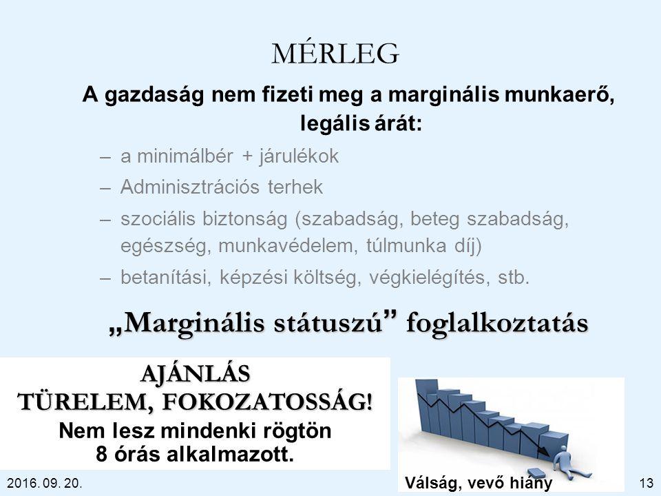 2016. 09. 20. MÉRLEG A gazdaság nem fizeti meg a marginális munkaerő, legális árát: –a minimálbér + járulékok –Adminisztrációs terhek –szociális bizto