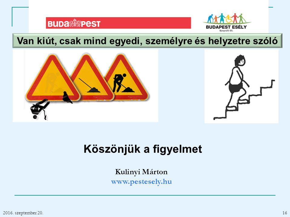 2016. szeptember 20. Kulinyi Márton www.pestesely.hu 16 Van kiút, csak mind egyedi, személyre és helyzetre szóló Köszönjük a figyelmet