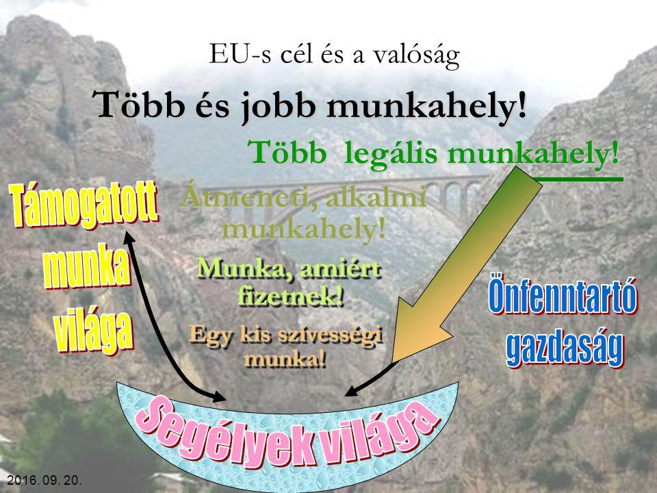 2016. 09. 20. EU-s cél és a valóság Több és jobb munkahely! Több legális munkahely! Átmeneti, alkalmi munkahely! Munka, amiért fizetnek! Egy kis szíve