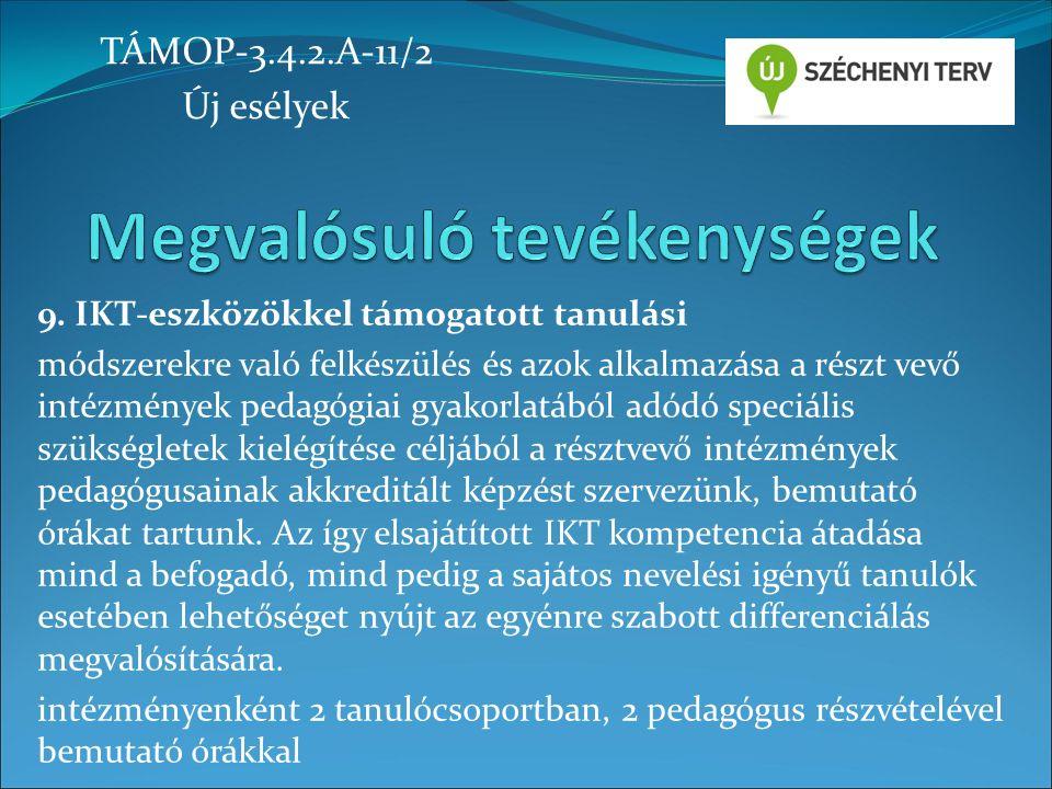 9. IKT-eszközökkel támogatott tanulási módszerekre való felkészülés és azok alkalmazása a részt vevő intézmények pedagógiai gyakorlatából adódó speciá