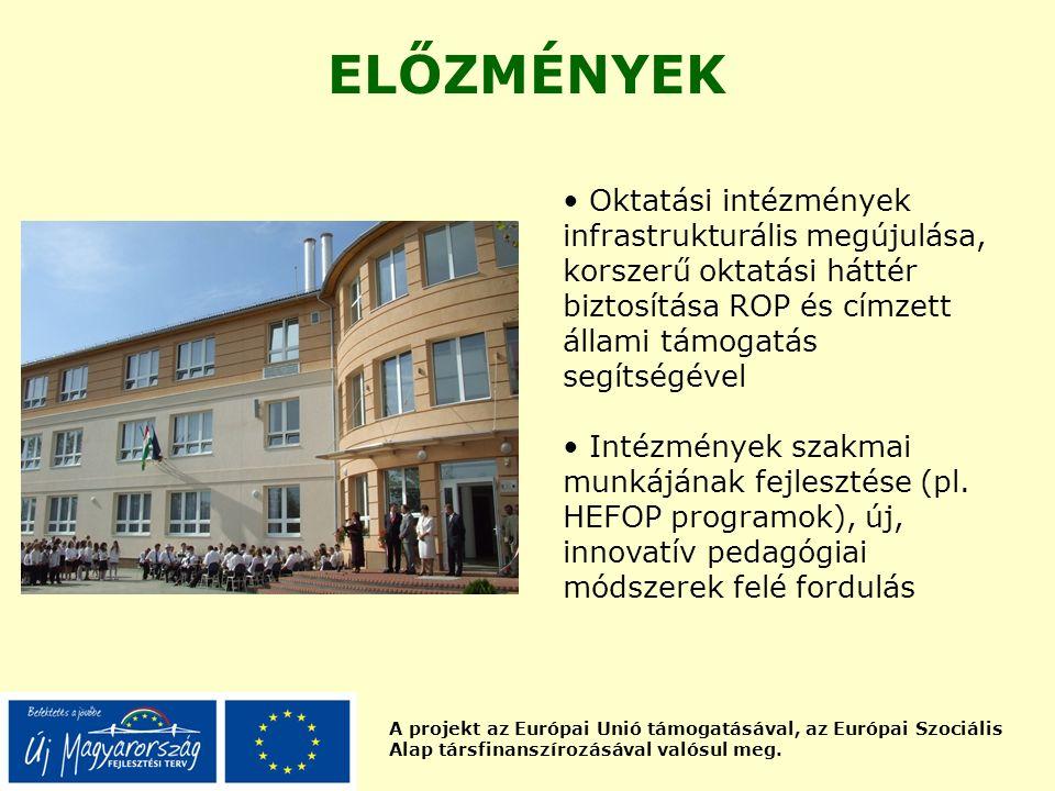 A projekt az Európai Unió támogatásával, az Európai Szociális Alap társfinanszírozásával valósul meg. ELŐZMÉNYEK Oktatási intézmények infrastrukturáli