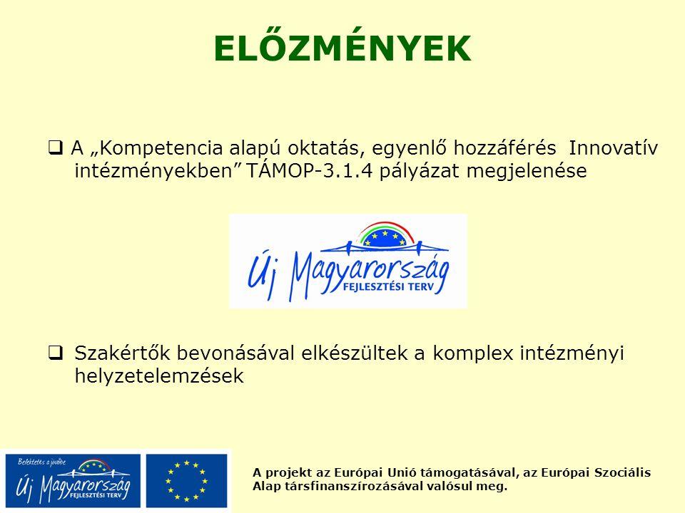 """A projekt az Európai Unió támogatásával, az Európai Szociális Alap társfinanszírozásával valósul meg. ELŐZMÉNYEK  A """"Kompetencia alapú oktatás, egyen"""