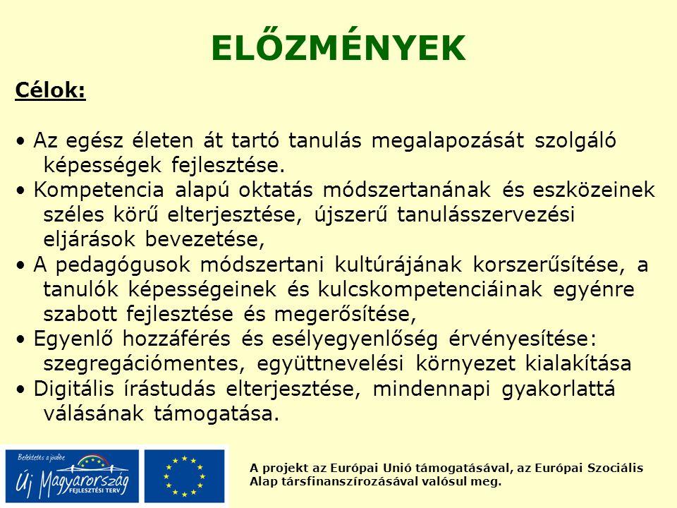 A projekt az Európai Unió támogatásával, az Európai Szociális Alap társfinanszírozásával valósul meg. ELŐZMÉNYEK Célok: Az egész életen át tartó tanul