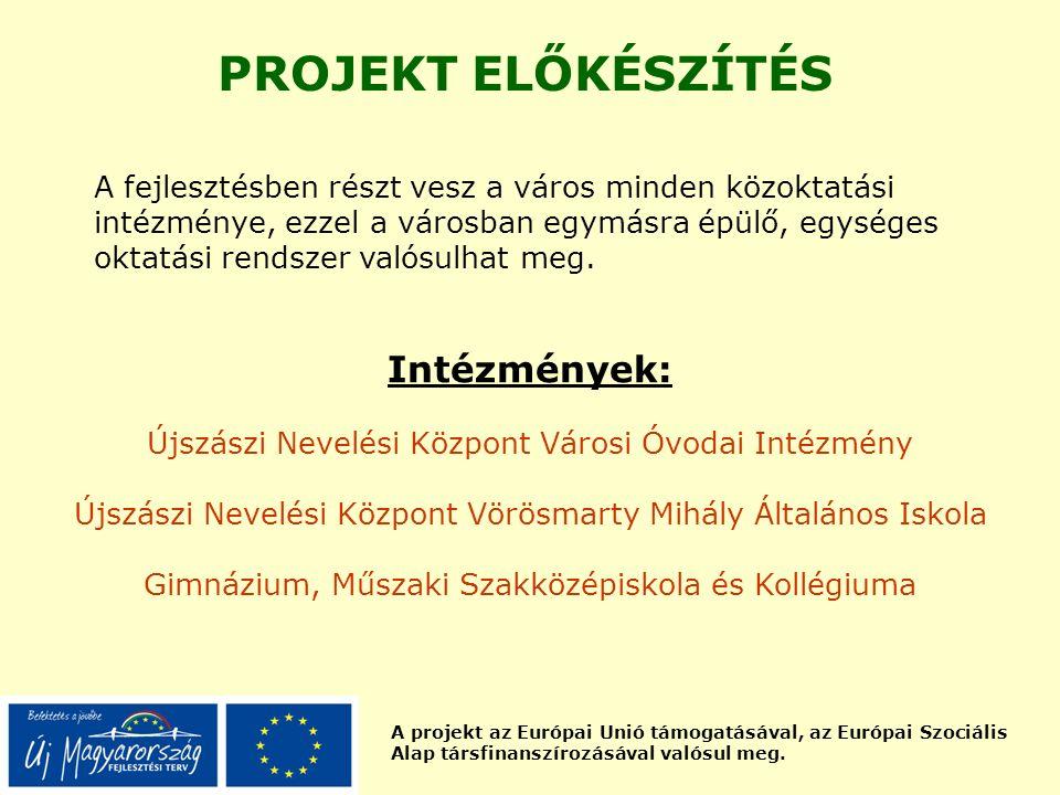 A projekt az Európai Unió támogatásával, az Európai Szociális Alap társfinanszírozásával valósul meg. PROJEKT ELŐKÉSZÍTÉS A fejlesztésben részt vesz a