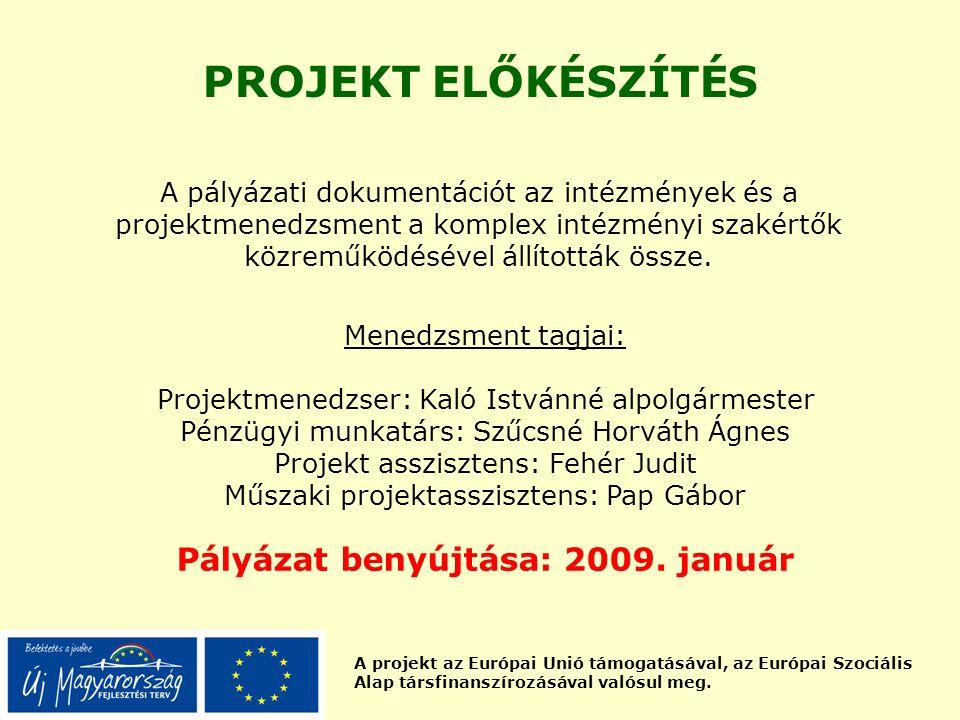 A projekt az Európai Unió támogatásával, az Európai Szociális Alap társfinanszírozásával valósul meg. PROJEKT ELŐKÉSZÍTÉS Menedzsment tagjai: Projektm