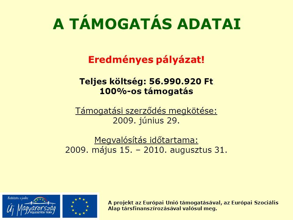 A projekt az Európai Unió támogatásával, az Európai Szociális Alap társfinanszírozásával valósul meg. A TÁMOGATÁS ADATAI Eredményes pályázat! Teljes k