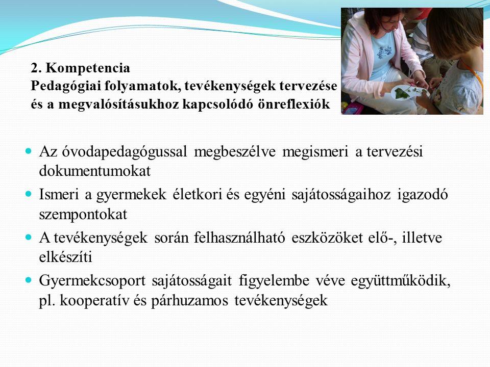 2. Kompetencia Pedagógiai folyamatok, tevékenységek tervezése és a megvalósításukhoz kapcsolódó önreflexiók Az óvodapedagógussal megbeszélve megismeri