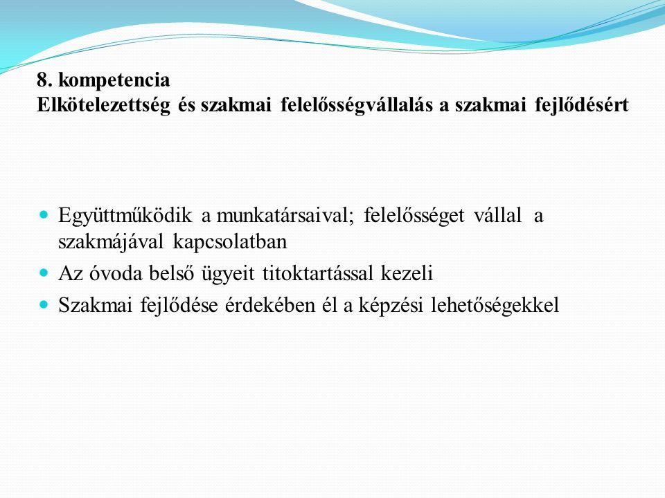 8. kompetencia Elkötelezettség és szakmai felelősségvállalás a szakmai fejlődésért Együttműködik a munkatársaival; felelősséget vállal a szakmájával k