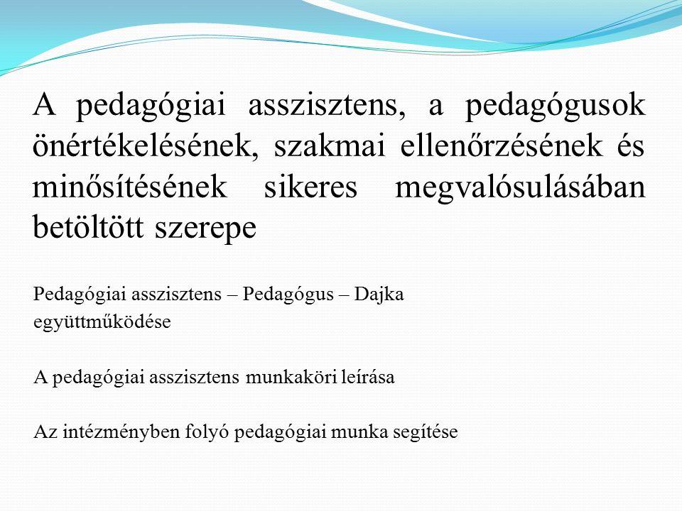A pedagógiai asszisztens, a pedagógusok önértékelésének, szakmai ellenőrzésének és minősítésének sikeres megvalósulásában betöltött szerepe Pedagógiai asszisztens – Pedagógus – Dajka együttműködése A pedagógiai asszisztens munkaköri leírása Az intézményben folyó pedagógiai munka segítése